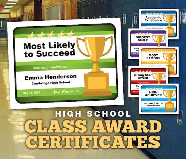 High school class award certificates image
