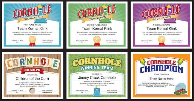 6 cornhole certificates image