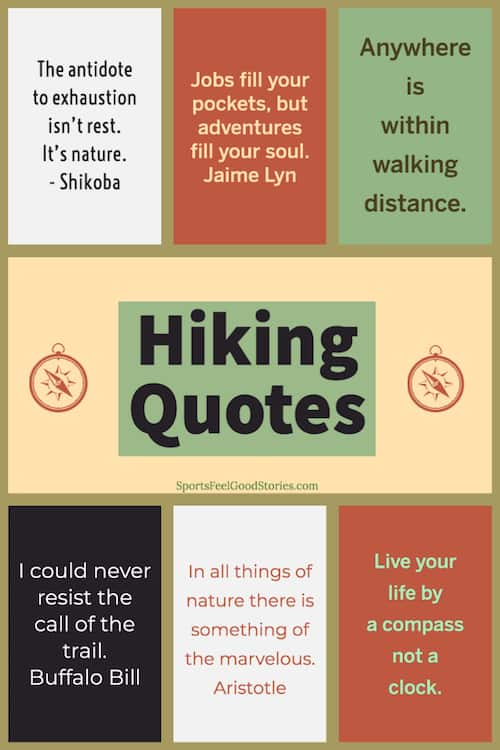 Short inspirational hiking quotes image