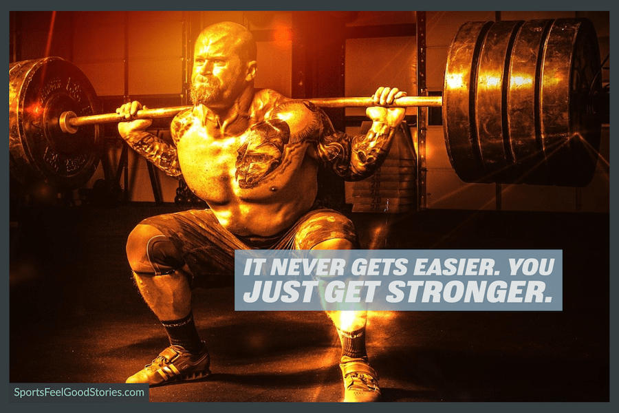 It never gets easier - motivational weightlifting images