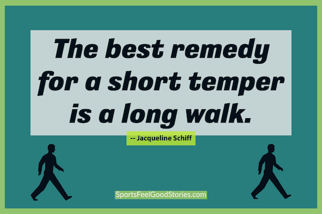 The best remedy for a short temper is a long walk meme