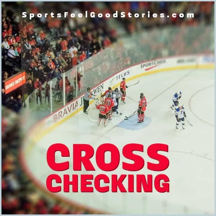 Cross-checking in hockey